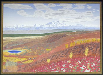 a painting of Denali during the fall