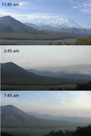 Wildfire smoke moving into the Alaska Range