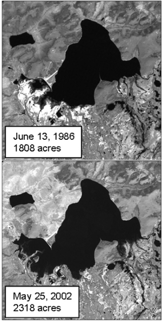 Satellite images of two lakes showing increase in surface area