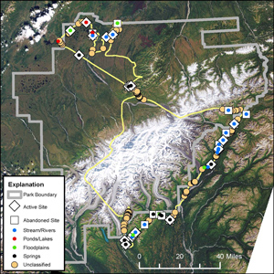 Map of Denali National park with yellow lines and dots showing beaver habitats