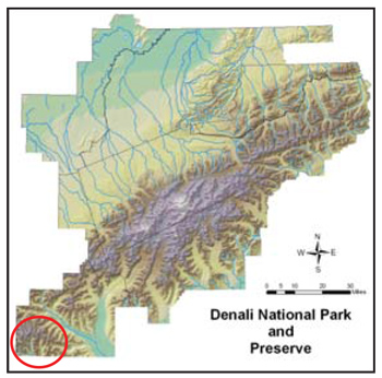 map of Denali National Park and Preserve pinpointing Kichatna Mountains with a red circle