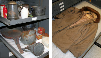 historical artifacts, cookware and a winter coat