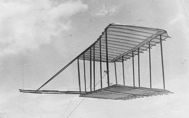 The glider being flown as a kite- Kitty Hawk, 1900