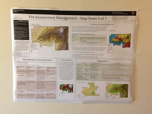 map sheet with photos and text explaining the fire environment at Saguaro National Park