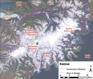 map of mountainous Katmai area