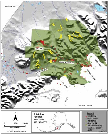 a map of Aniakchak National Monument and Preserve