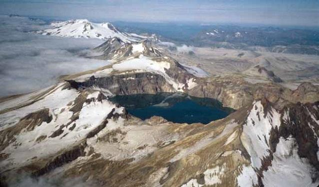 Aerial view of the Katmai caldera