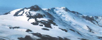 snow covered volcano summit