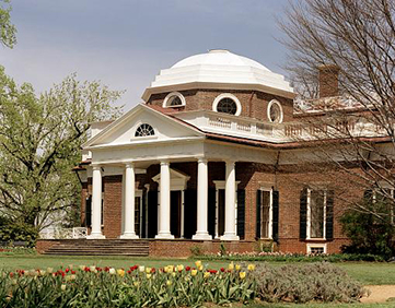 Front view of Monticello, showing front porch and octagonal dome