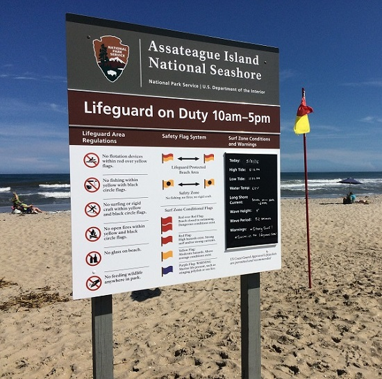 Lifeguard sign and safety flag at Assateague Island National Seashore