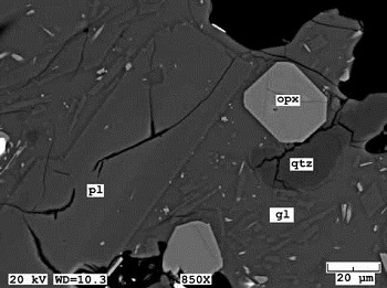 electron micrograph shows chemical composition of lava