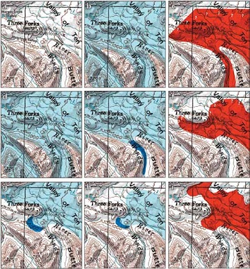 nine square topographic maps of the Windy Creek area over time