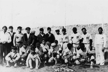 black and white photo of a baseball team