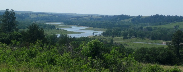 View of the Niobrara River meandering through the hills