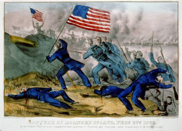 Contemporary depiction of Union charge at Roanoke Island, February 1862.