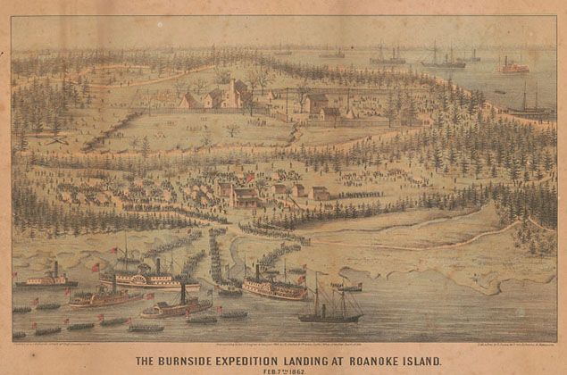 Contemporary depiction of the Union fleet landing at Roanoke Island, February 1862.