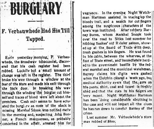 Black and white newsprint, headline reads BURGLARY.