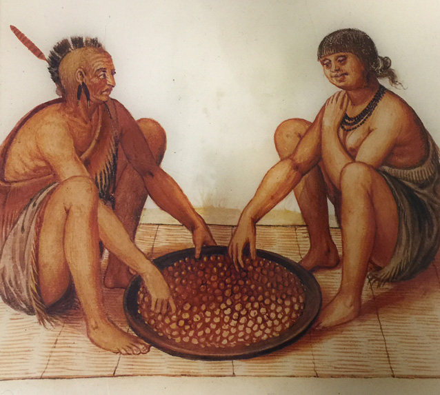 John White's depiction of two Algonquian sitting down for a meal.
