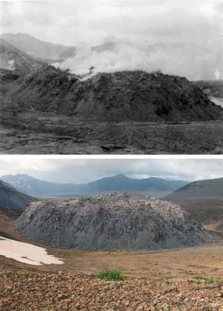 two photos comparing a rocky valley with little to no vegetation