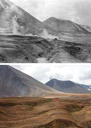 a historic and current photo comparing a rocky valley with mountains in the background