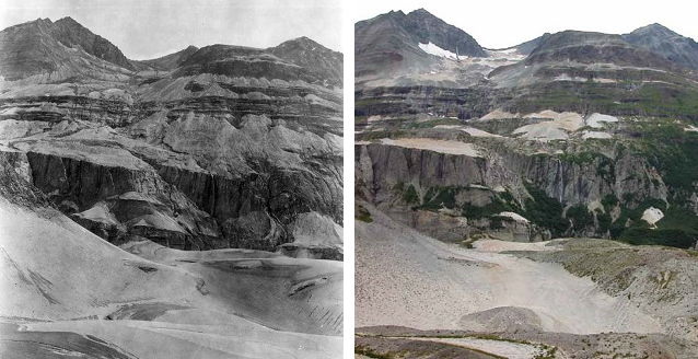 two photos comparing a wall of a canyon over time