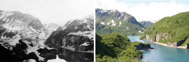 two photos comparing a mountainous bay with and without volcanic ash