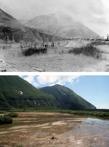 two photos comparing a village and cemetery in a valley that no longer exists