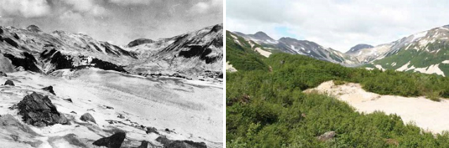 two photos showing an increase in shrub cover in a mountainous valley over time