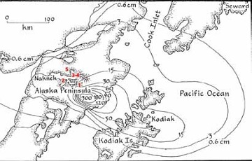 map of Katmai showing location of forest study sites with red numbers
