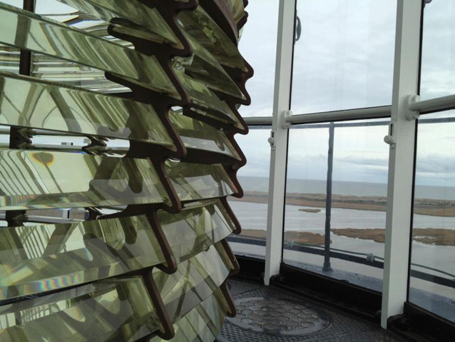 View of Fresnel lens and view from Bodie Island light tower