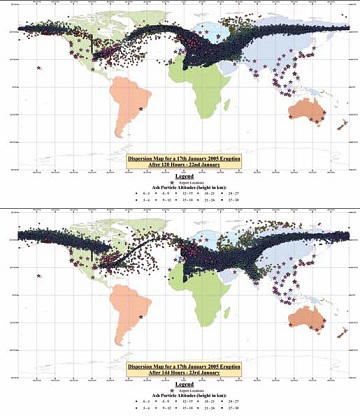 world maps show ash cloud dispersal throughout globe after eruption