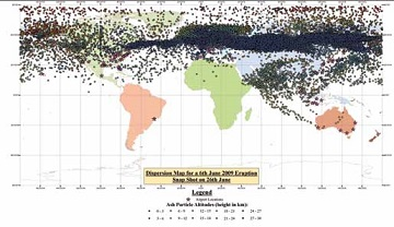 world map shows ash cloud dispersal throughout globe after eruption