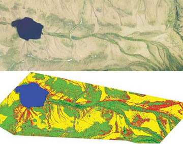a satellite image and colored map classifying landcovers around a lake and watershed