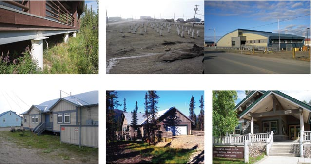 composite of six images of buildings in alaska