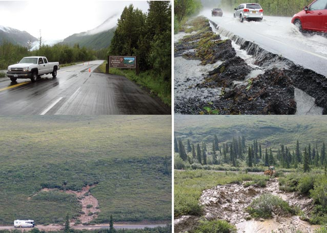 four images of floods and earth slides near roads