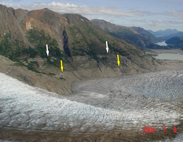 arrows superimposed on a photo of a huge glacier and mountain