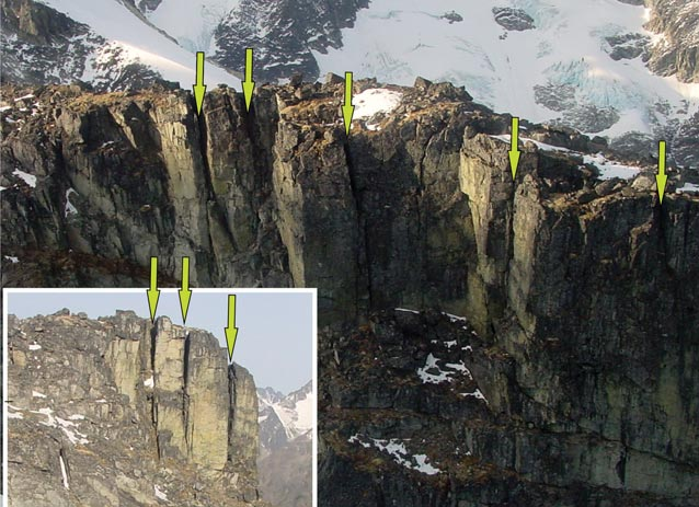 arrows superimposed on images of cliff faces on mountainsides