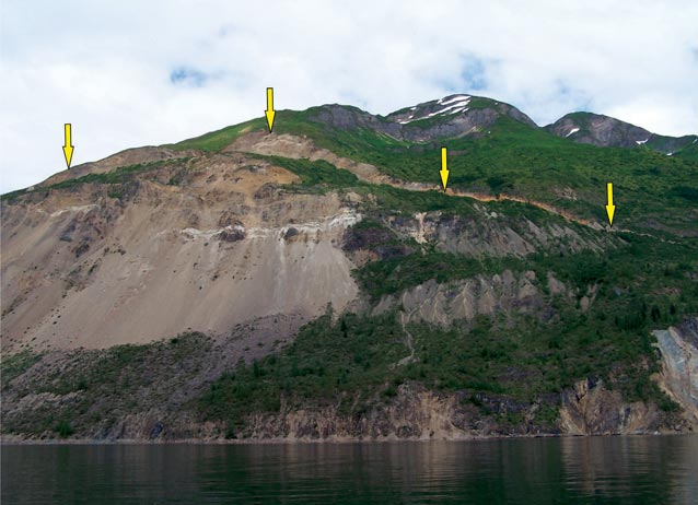 arrows superimposed on a mountain, pointing at a steep hillside
