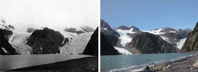 two photos showing the retreat of a glacier over time
