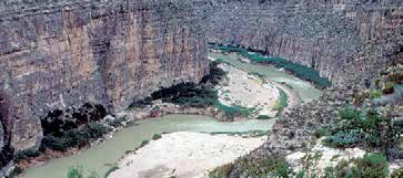 Rio Grande river flowing through a canyon