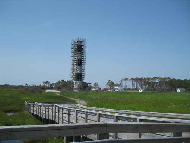 Image of Bodie Island Lighthouse in scaffolding, 2012