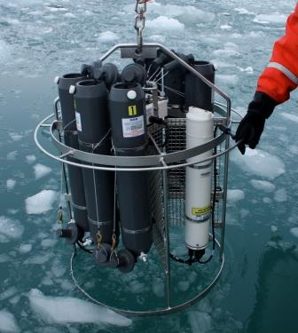 instrument that measures conductivity, temperature, and depth, is lowered into the ocean