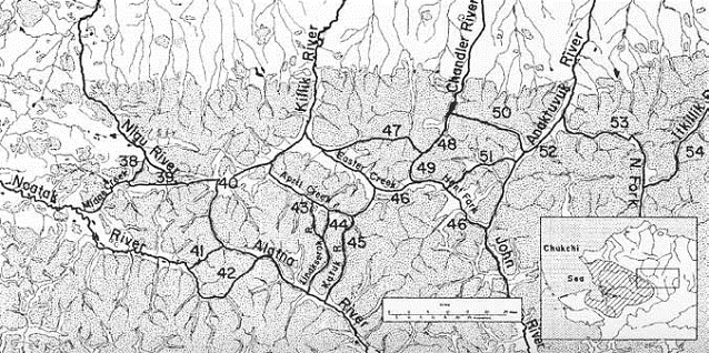 black and white map of Gates of the Arctic showing routes with black lines and numbers