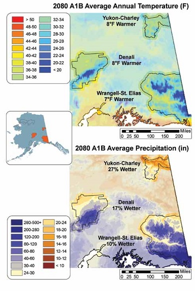 two colorful maps showing temperatures and precipitation in interior and southern Alaska