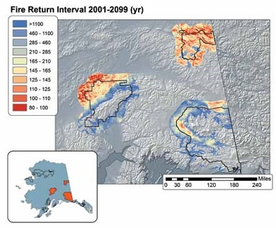 map showing red and blue shaded areas for fire return intervals in three Alaska national parks