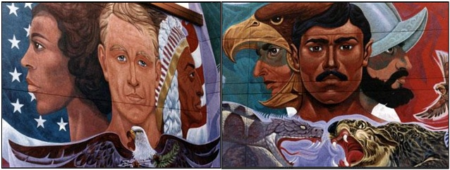 Two sections of a mural depicting cultural diversity of the United States and Mexico