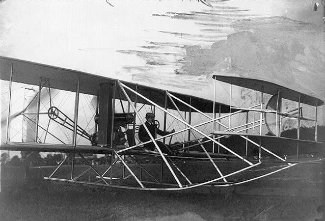Orville in flyer preparing for takeoff, Fort Myer 1909