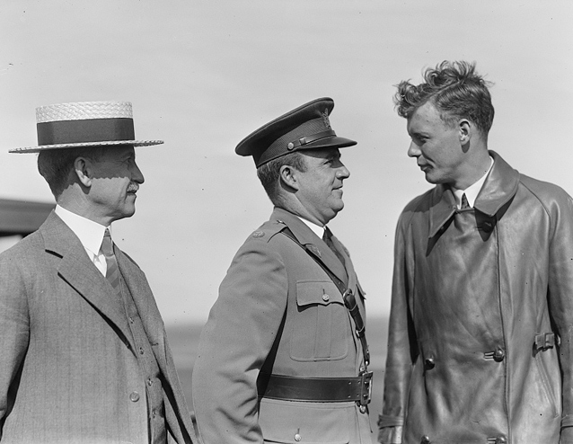 L to R- Orville Wright, Major John F. Curry, Colonel Charles Lindbergh- Dayton, 1927