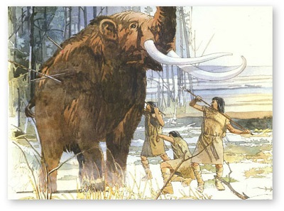 Prehistoric Native Americans hunting wooly mammoth