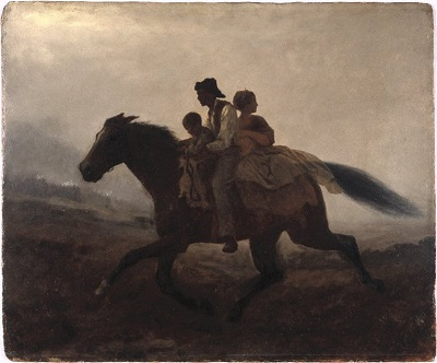 Oil painting of an enslaved family riding away on horseway